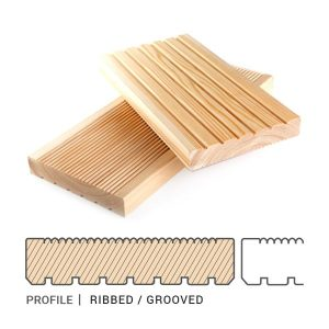 Siberian Larch Decking Ribbed / Grooved Profile